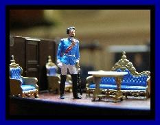 König Ludwig im Salonwagen des Hofzugs